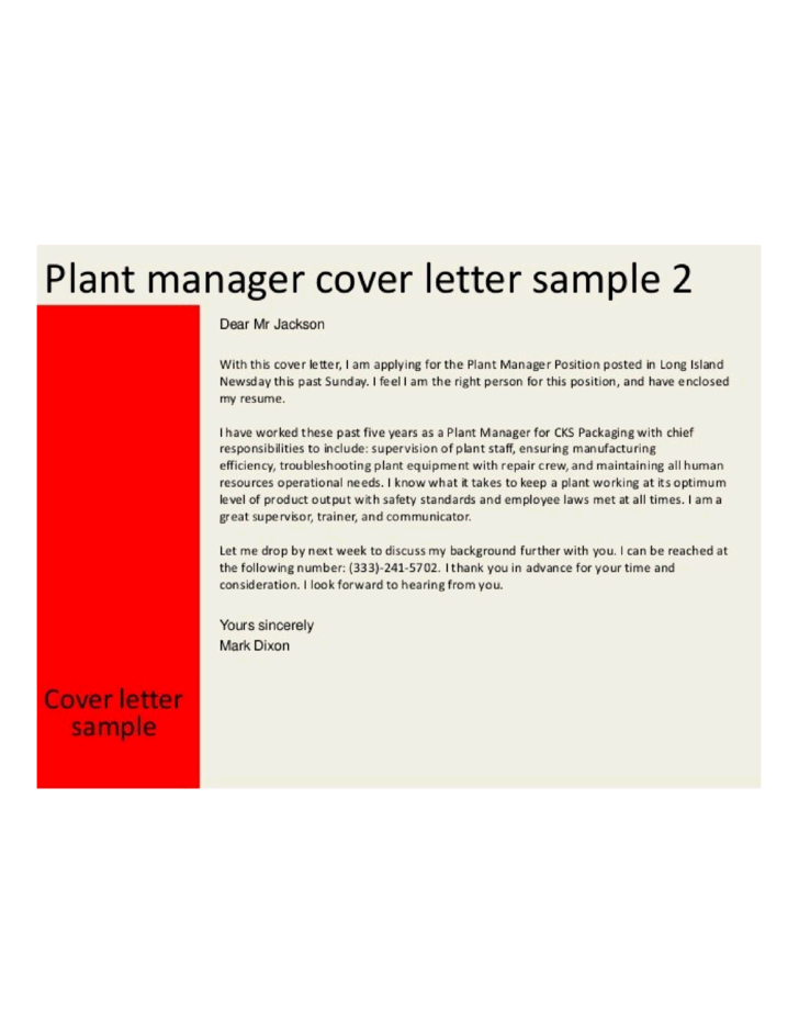 General Plant Manager Cover Letter