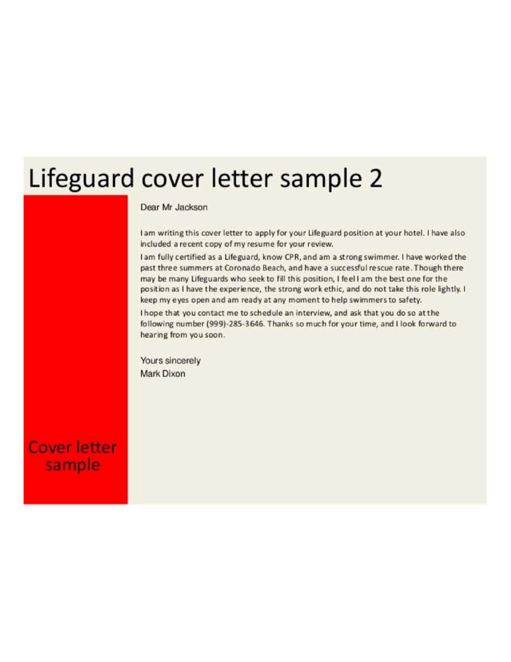 Hotel Lifeguard Cover Letter Samples And Templates