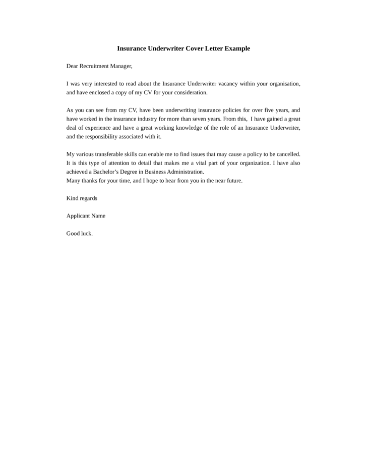 sample underwriter cover letter