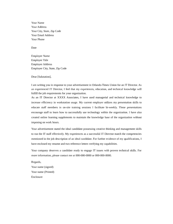 IT Director Cover Letter - 2