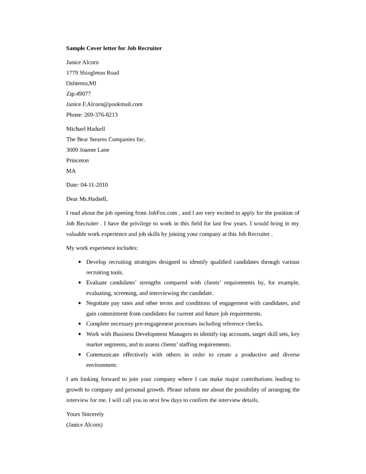Cover letter for job recruiter for Cover letter examples for recruiter position