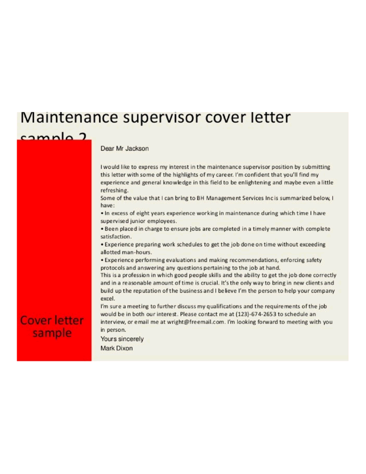 Maintenance Director Cover Letter