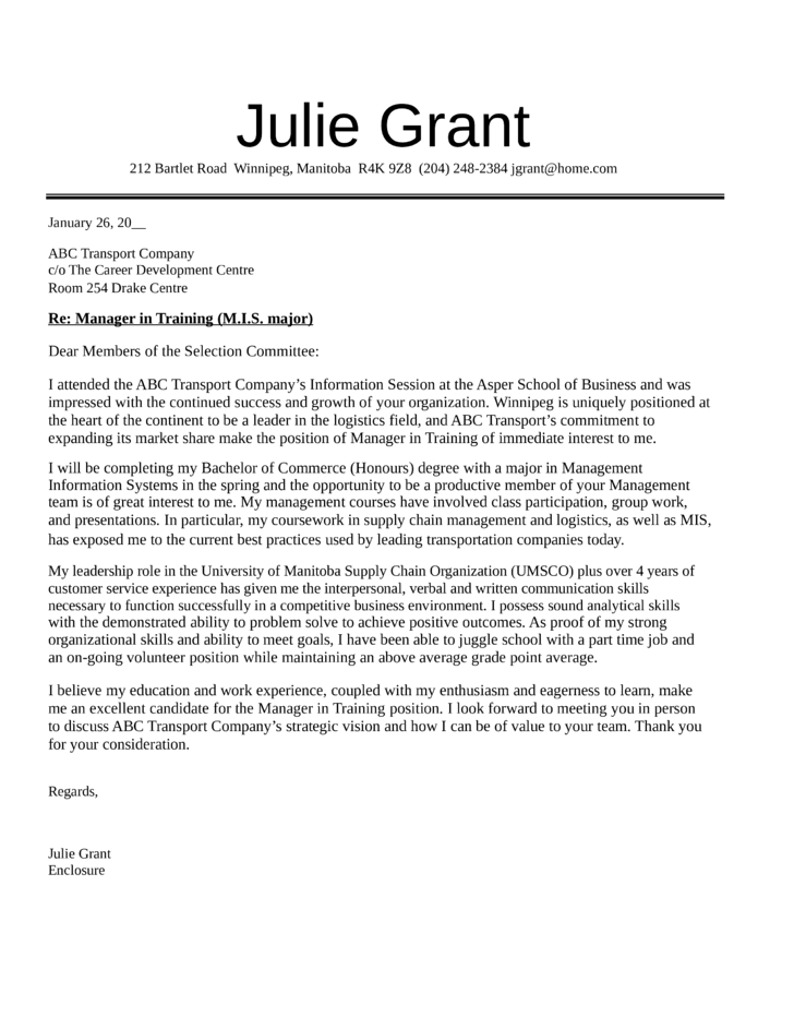 manager in training cover letter samples and templates
