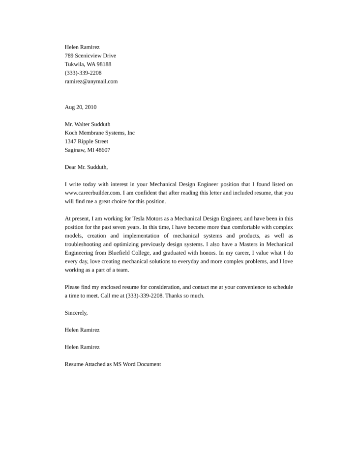 Mechanical Design Engineering Cover Letter Samples And
