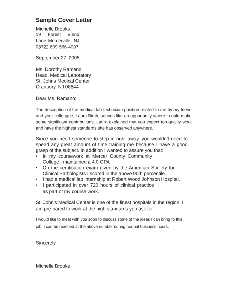 lab technician cover letter sample covering. Resume Example. Resume CV Cover Letter
