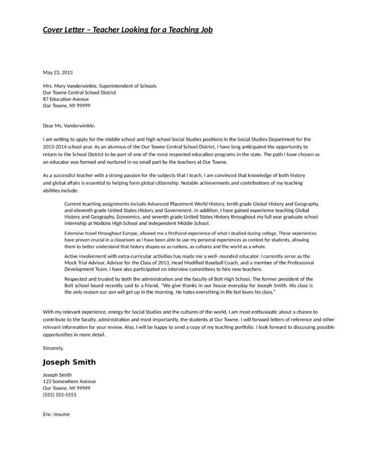 cover letter for teaching social studies teacher cover letter - Teaching Cover Letter Middle School