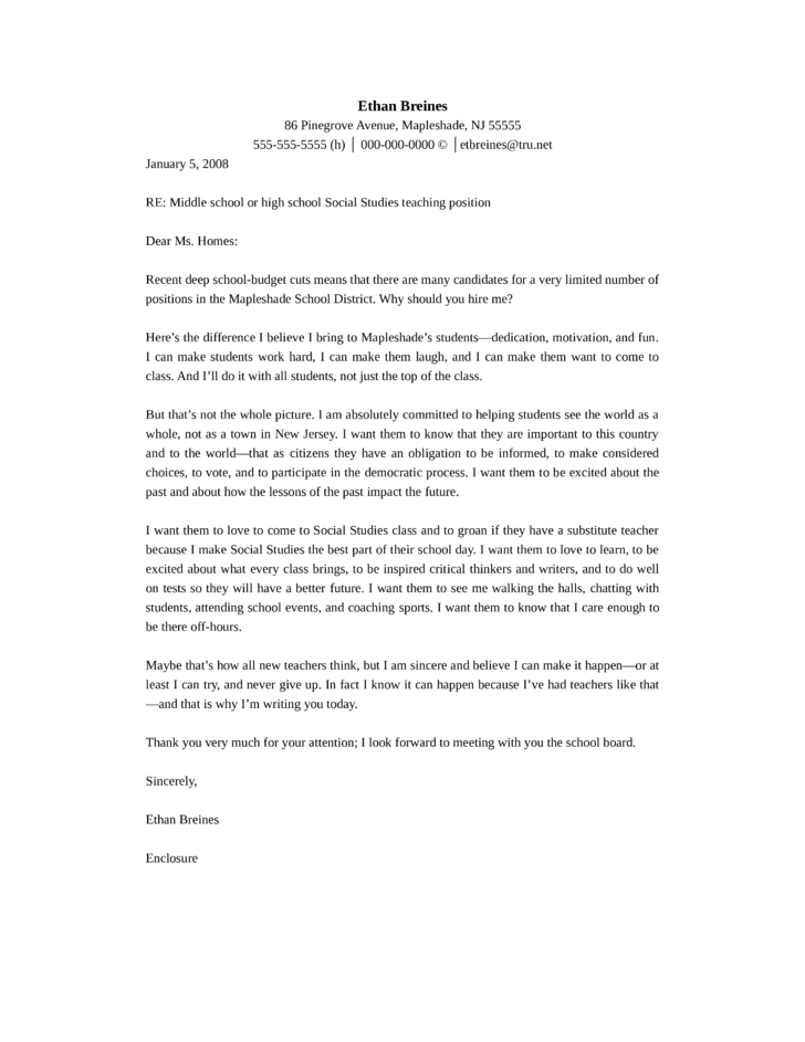 middle school or high school social studies teacher cover letter - Cover Letter For High School