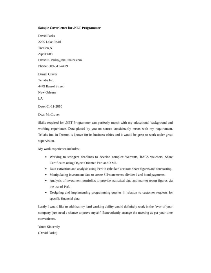 net developer cover letter samples and templates