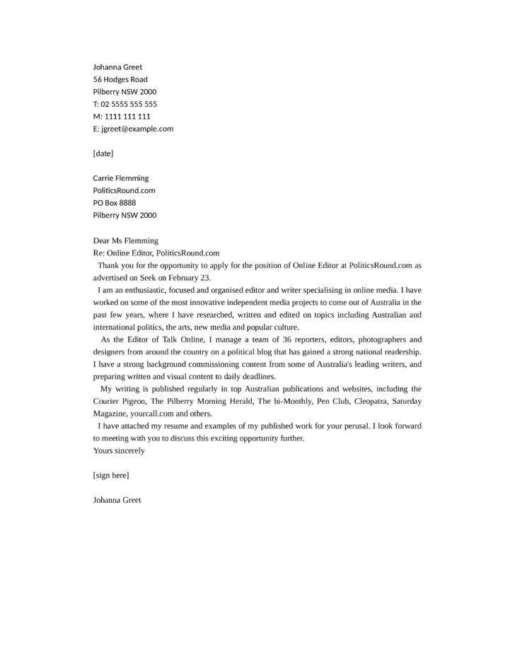 online editor cover letter samples and templates