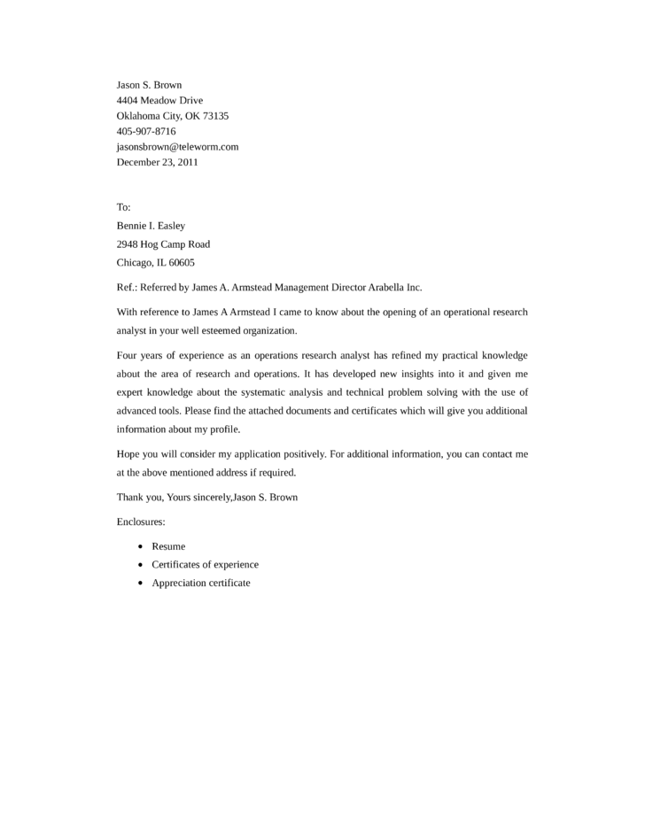 i was referred to you by cover letter - operational research analyst cover letter samples and