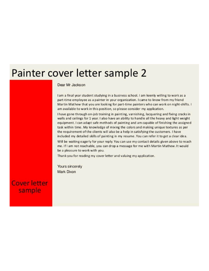 Part-time Painter Cover Letter