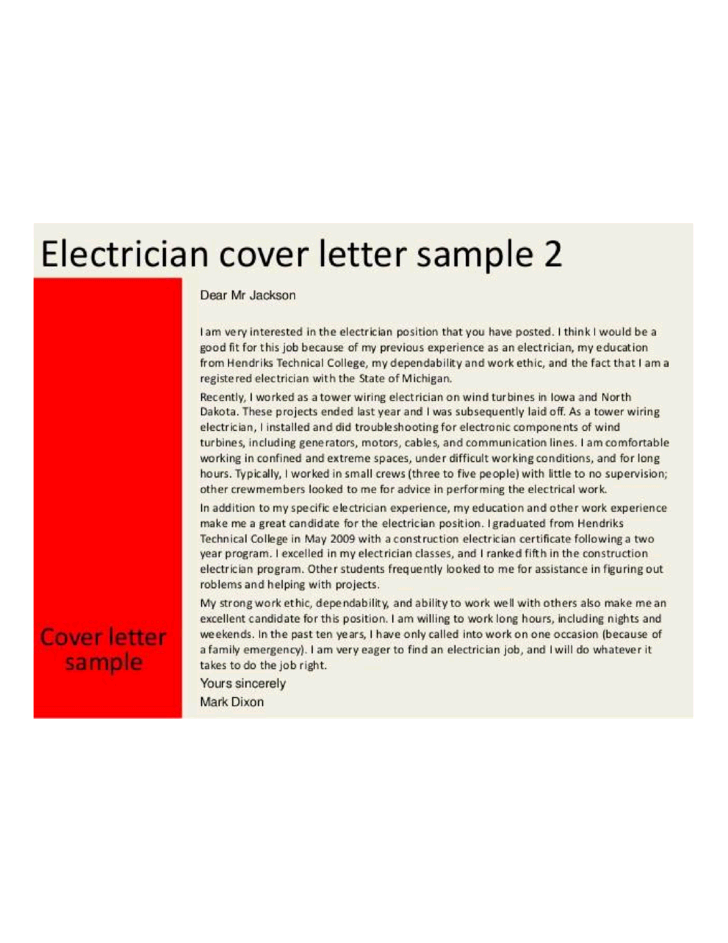 Professional Electrician Cover Letter