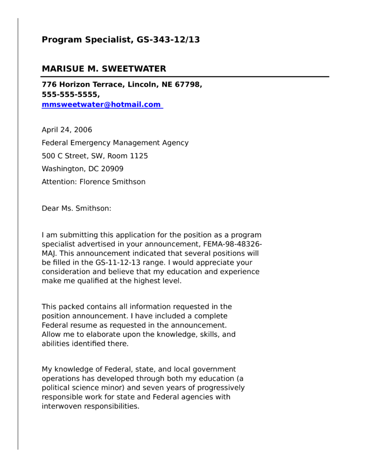 program specialist for federal government cover letter - Federal Resume Cover Letter