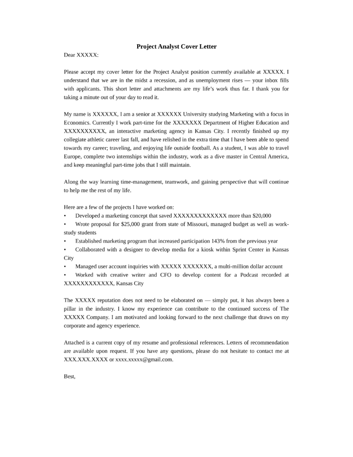 cover letter for bank loan proposal - project analyst cover letter samples and templates
