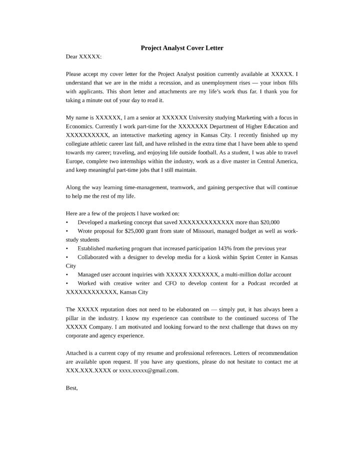 Program analyst cover letter sample