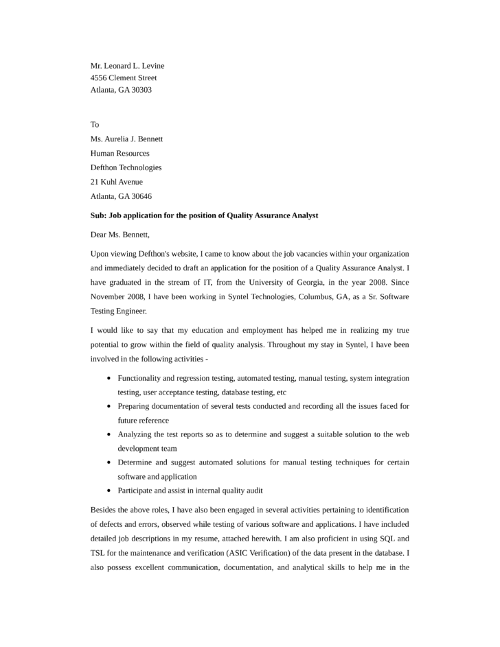 Cover letter for software quality assurance analyst | Essay Sample ...