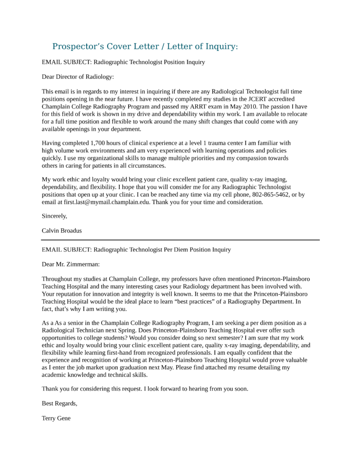 Radiographic Technologist Cover Letter Samples And Templates