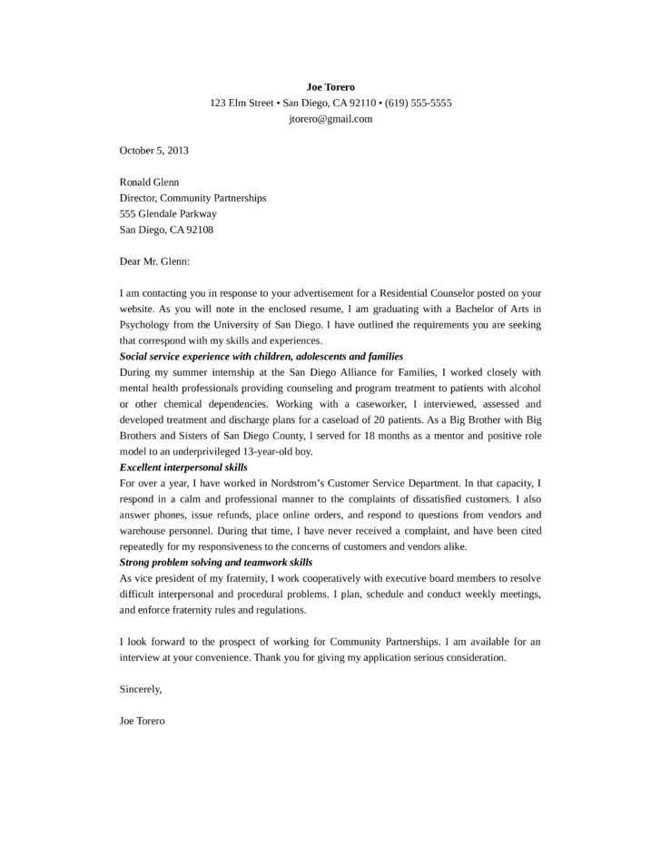 residential counselor cover letter - Counseling Cover Letter