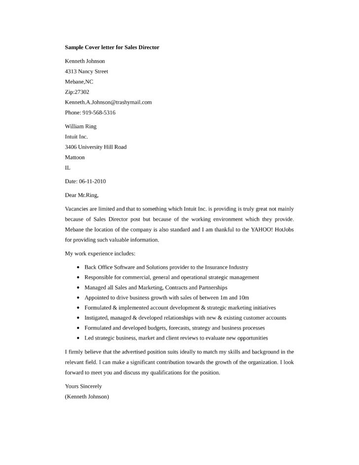 sales director cover letters