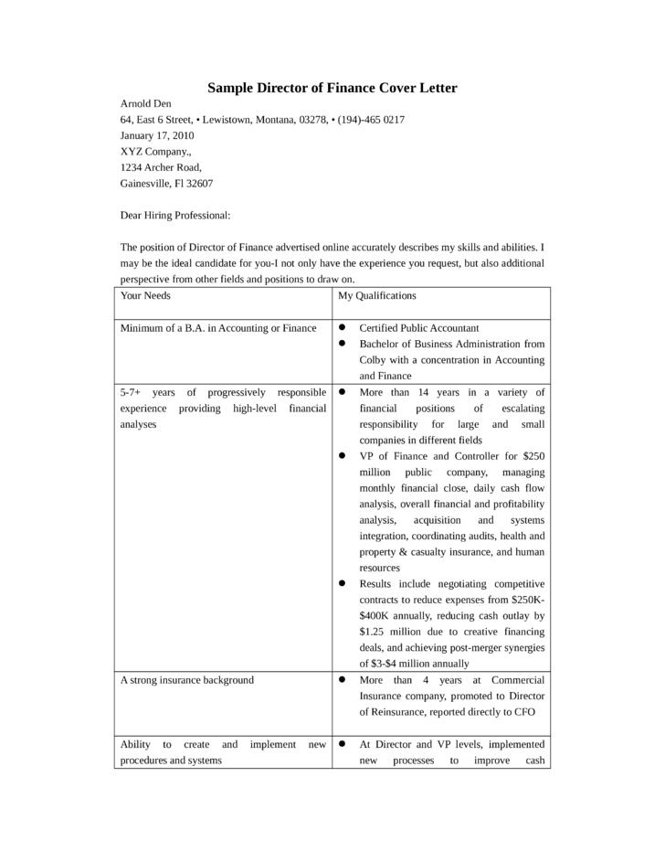 Director of Finance Cover Letter - Great Sample Resume