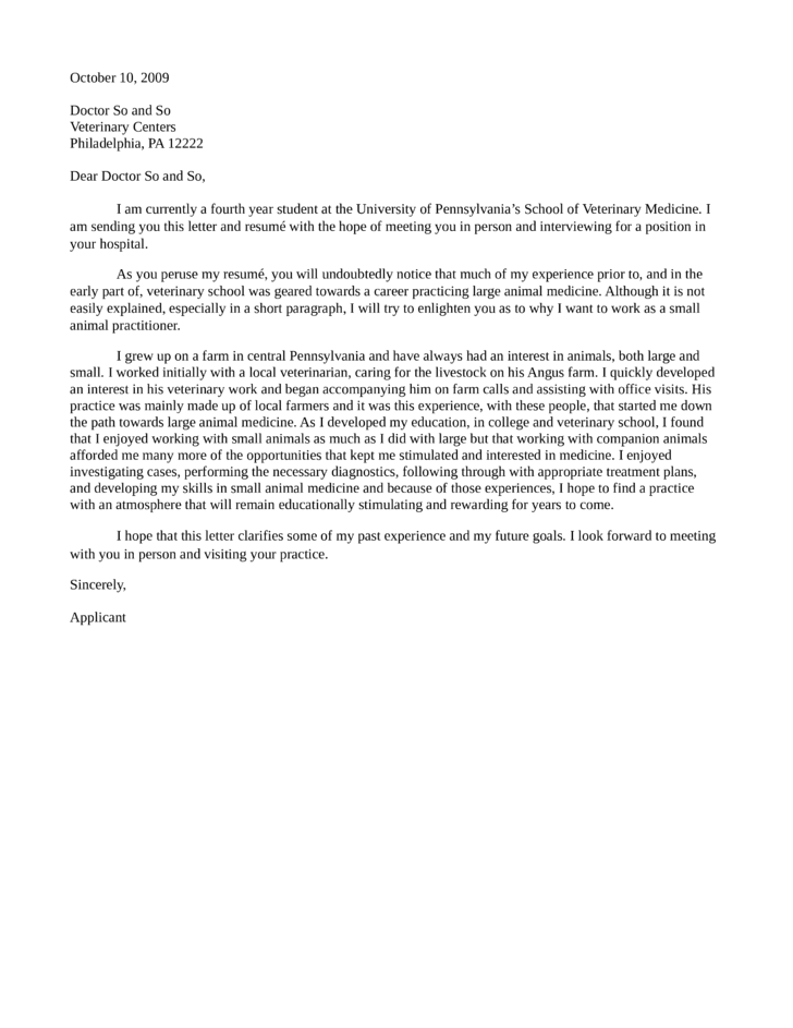 small animal practitioner cover letter - Cover Letter For Veterinarian