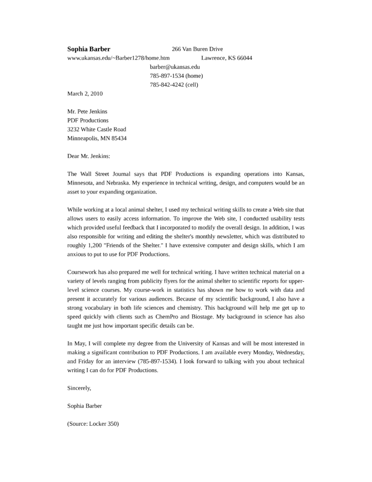 standard technical writer cover letter - Technical Cover Letter