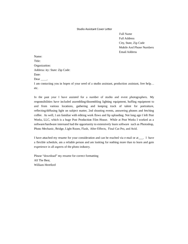 studio photographer asssitant cover letter - Cover Letter For Photography