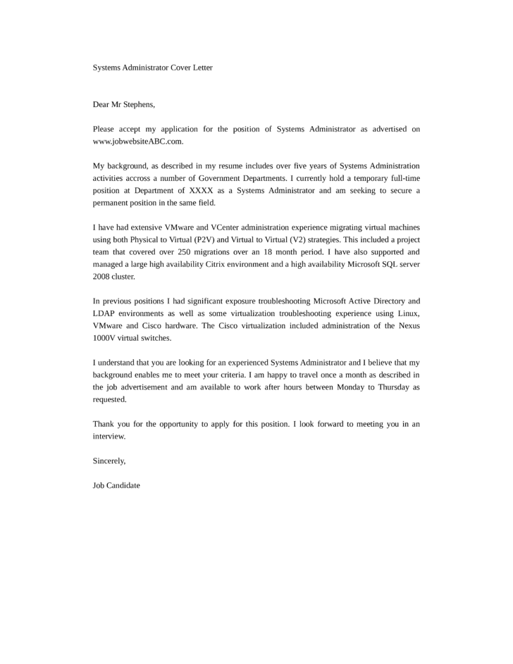 adminstration cover letter - systems administrator cover letter samples and templates