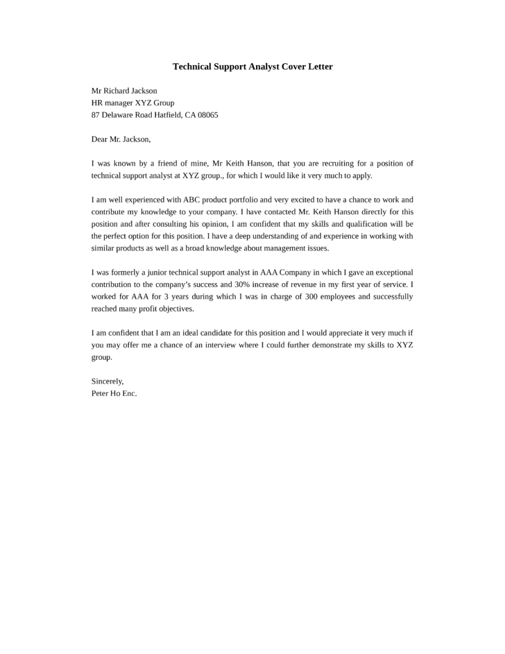 technical analyst cover letter - Template