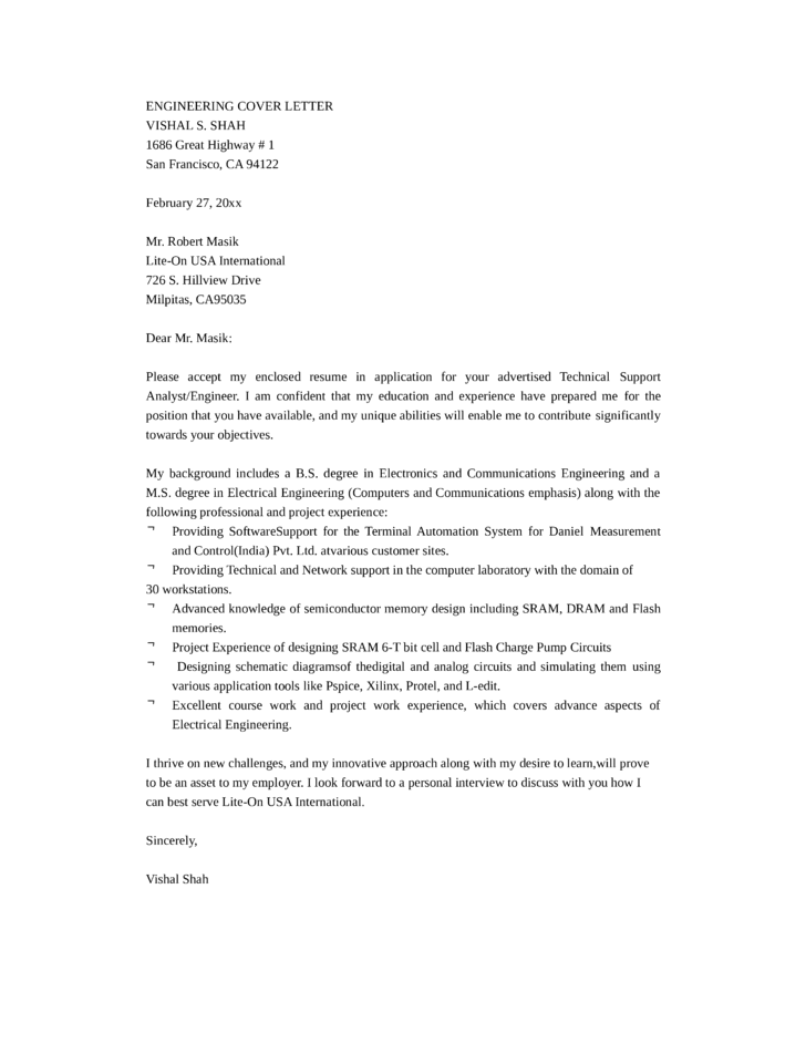 Captivating Cover Letter For Technical Support Engineer