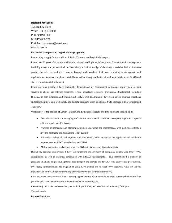 transport and logistics manager cover letter samples and