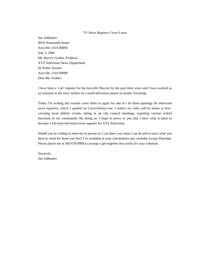 Tv News Reporter Cover Letter Samples And Templates