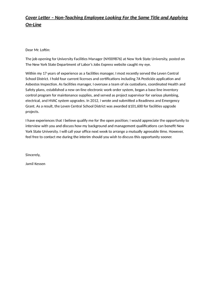 university facilities manager cover letter