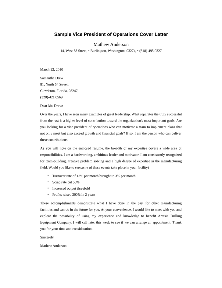 Vice President of Operation Cover Letter Samples and Templates