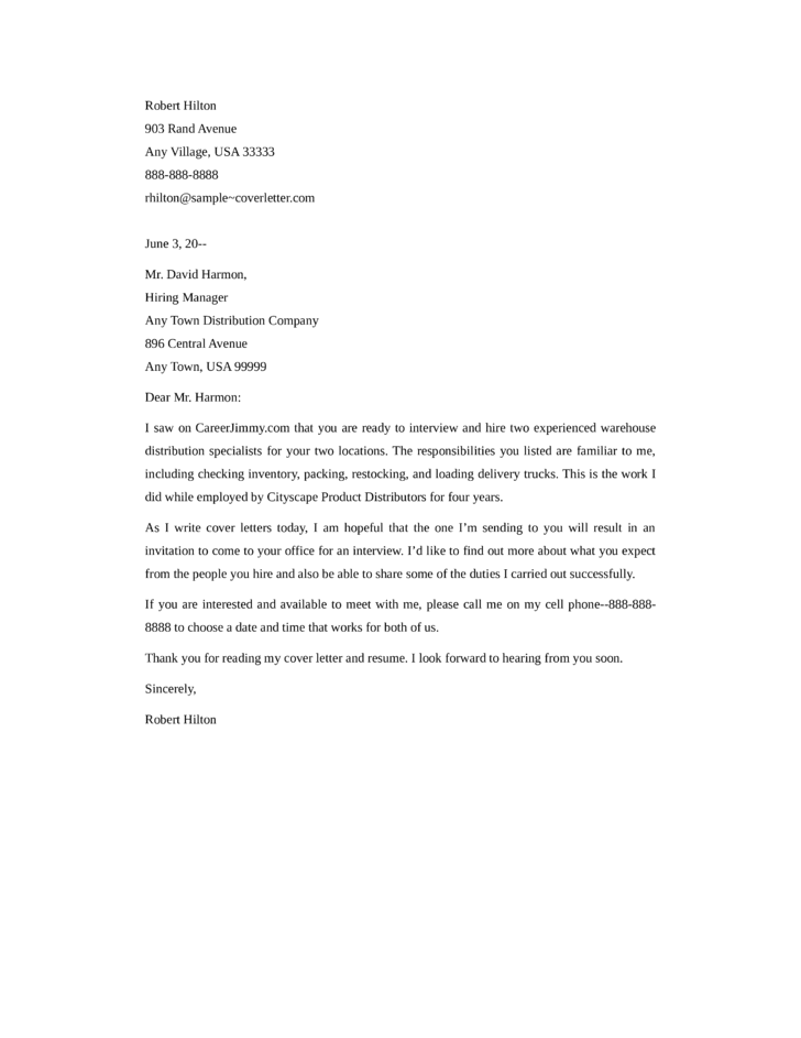 warehouse cover letters