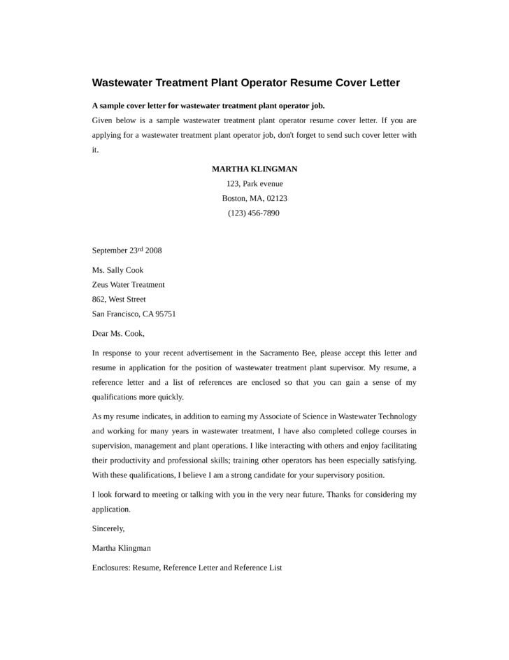 Wastewater Treatment Plant Operator Cover Letter